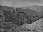 "IMAGE OF THE 1869 UNION PACIFIC TRESTLE ADJACENT TO THE CENTRAL PACIFIC ""BIG FILL"" WITH A VIEW EAST"